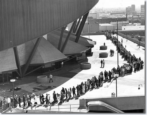 Fans lined up outside Market Square Arena to purchase tickets for Elvis Presley's last concert held on June 26 1977.