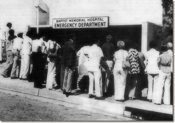 Baptist Memorial Hospital, fans wait to hear news on Elvis Presley August 16, 1977.