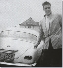 Elvis with his white BMW 507